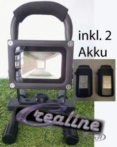 LED Flutlicht 10 Watt cw mit 2 Akkus dimmbar