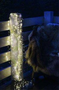 LED Engelshaar, Lichterkette mit Silberdraht für outdoor