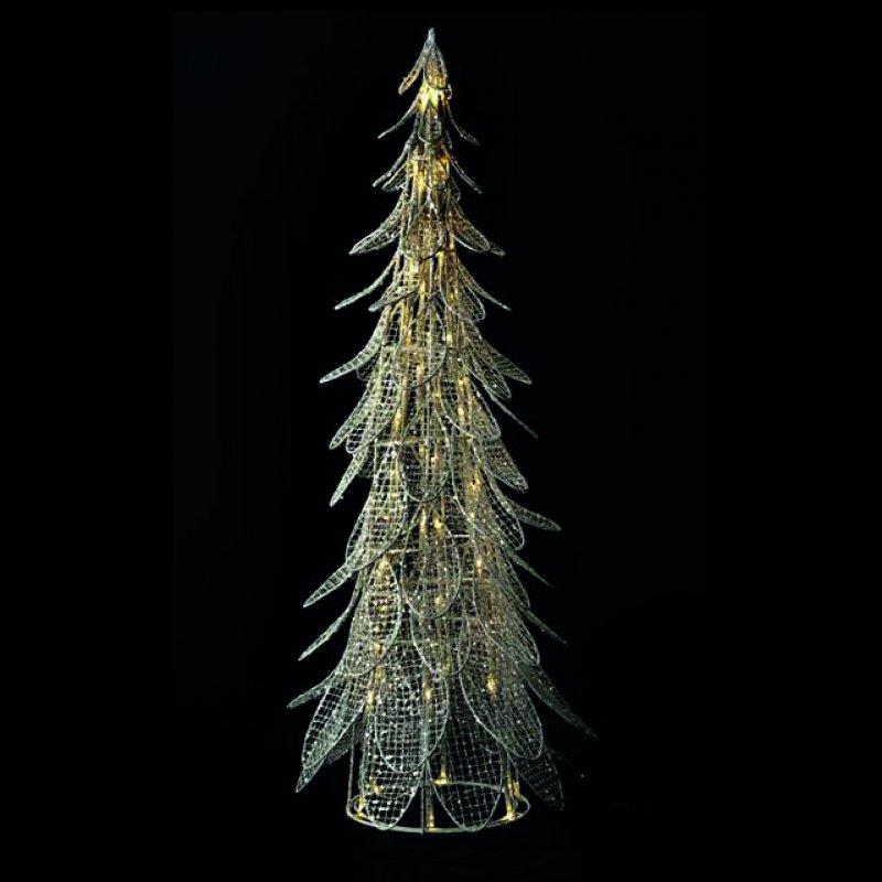 LED Baum silber geflochten H 66cm