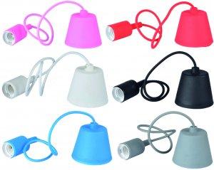 Lampenpendell E27 PVC in Schwarz, Weiss, Blau, Pink, Rot oder Grau