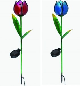 Tulpe Solarleuchte blaues oder rotes Glas