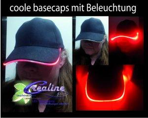 Basecap mit LED Rand rot / blau / grün