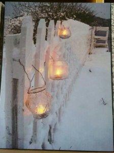 Bild mit LED Lichtern 40x30cm Teelichter am Zaun