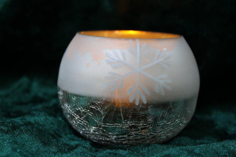 Teelichtglas Schneeflocke