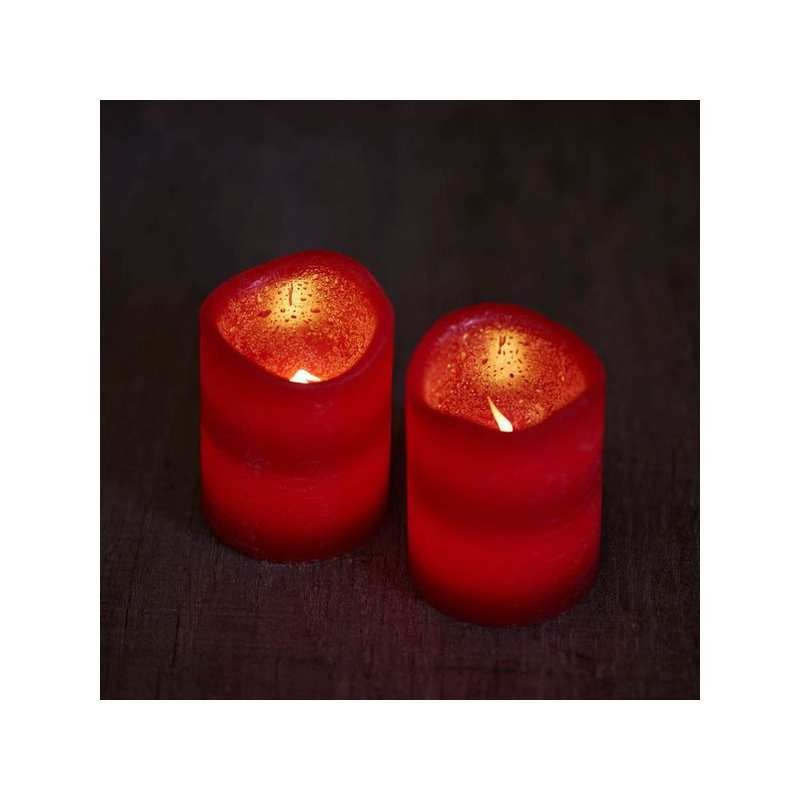 LED Echtwachskerzen Tenna 2er Set mit Timer rot