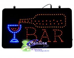 LED Schild BAR Blinkeffekt