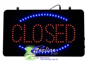 LED Schild closed -  open mit Blinkeffekten