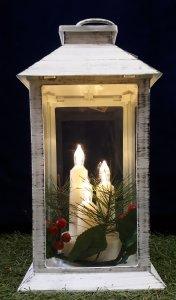 Laterne mit 3 Kerzen und Timer