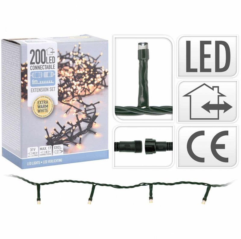 200 LED extra warmweiss Lichterkette