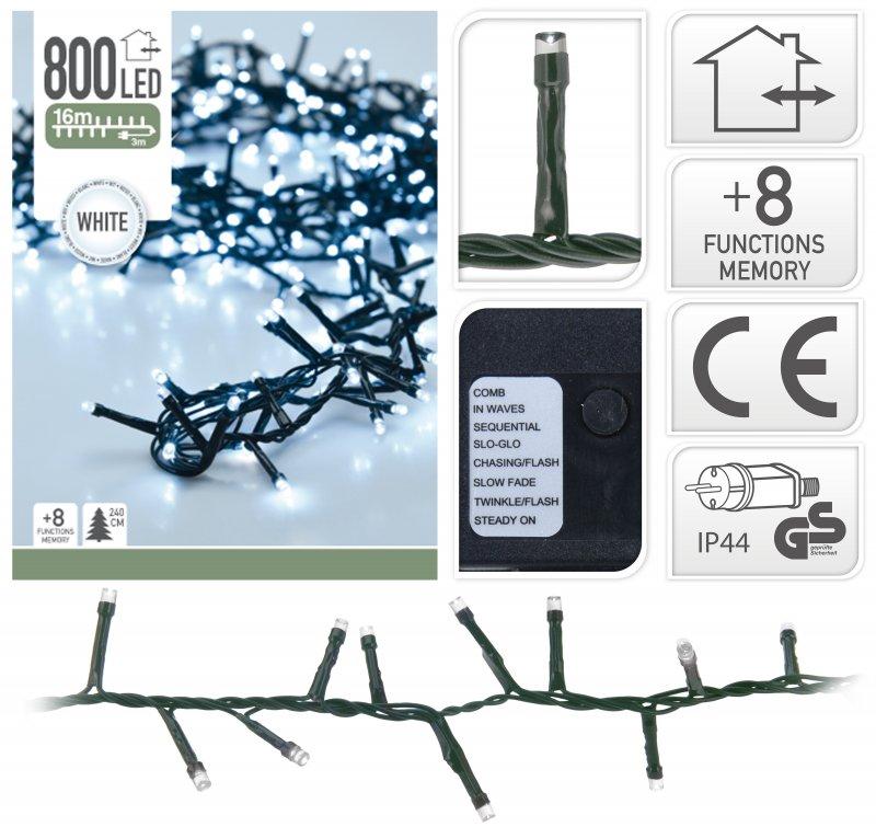 800 LED weiss Semi-Büschelkette