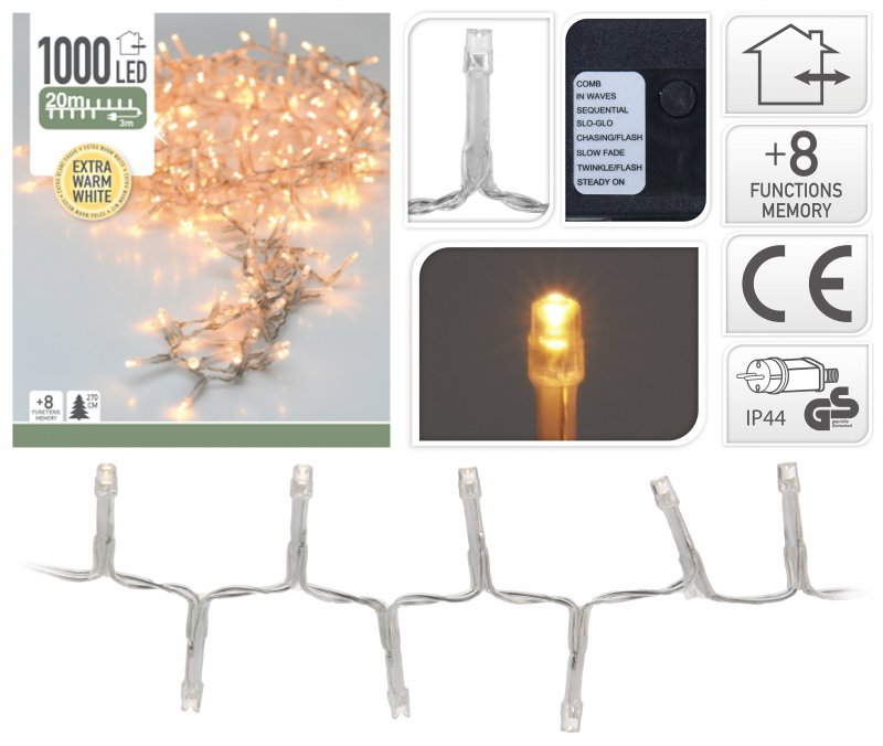 1000 LED extra warmweiss Semi-Büschelkette