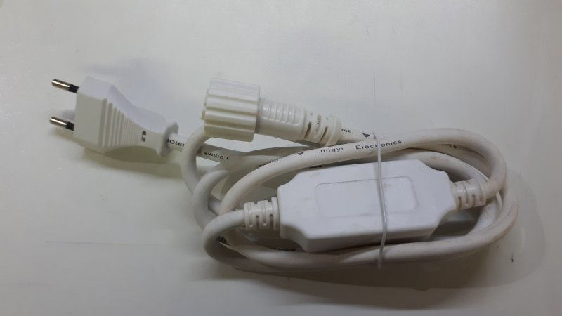 Stromanschluss weiss für LED Lichterketten mit Gummikabel
