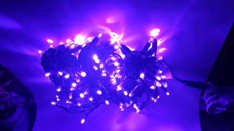 LED Lichterkette violett 12m Länge Erweiterung