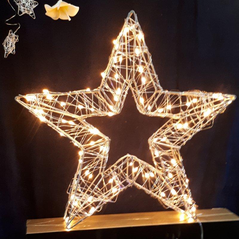 Stern 3D mit Silberdraht 38cm 80 warmweisse LED