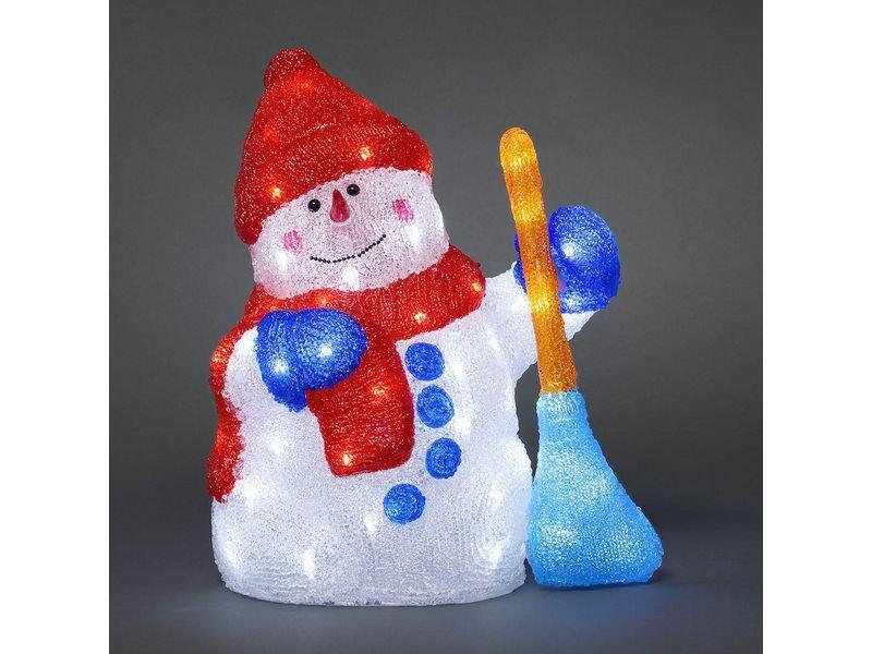 Schneemann mit Besen mit weissen LEDs