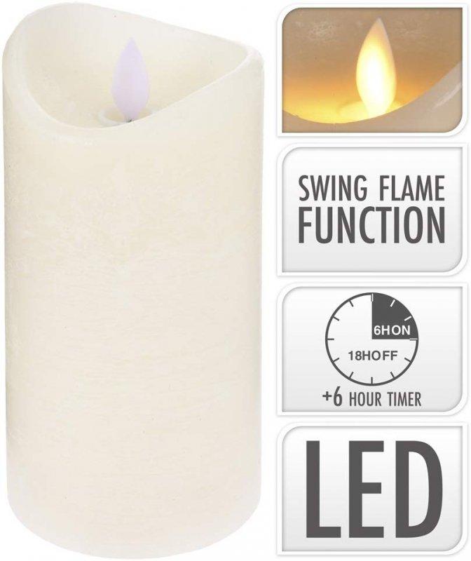 Kerze flackernd mit Timer 10cm