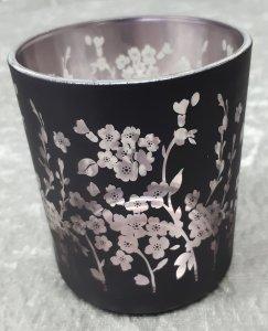 Teelichtglas Blumen in  rosa schwarz