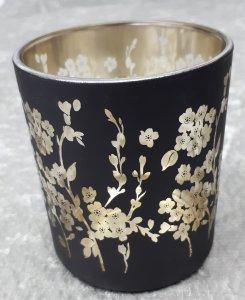 Teelichtglas Blumen in gold schwarz