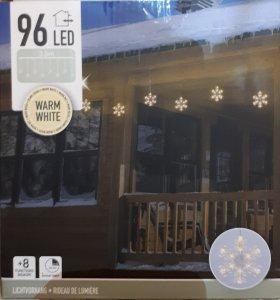 Lichtervorhang Schneeflocken warmweiss