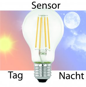 Kugel E27 6W Tag und Nacht Sensor