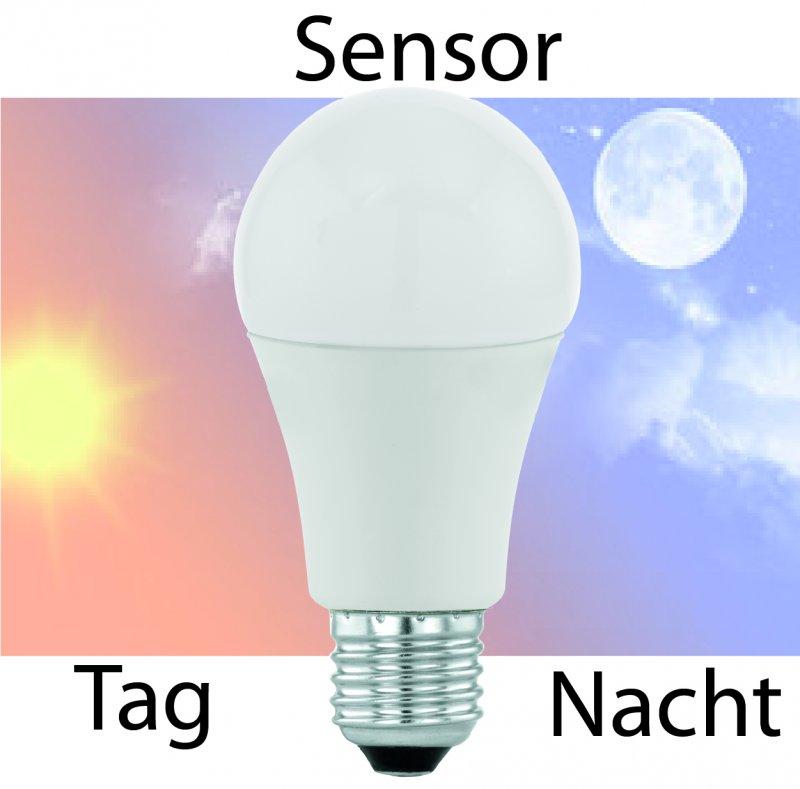 Kugel E27 9.5W Tag und Nacht Sensor Milch-Cover