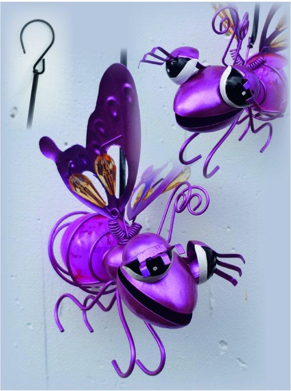 Insekt violett-rosa Solar mit Hänge-Feder